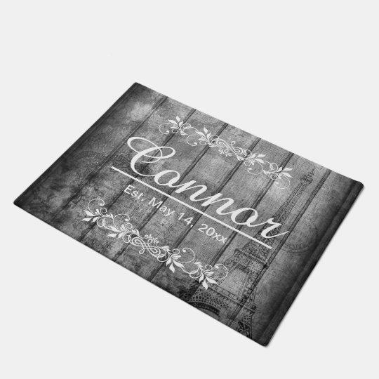 Paris Style Faux Grey Wood Doormat | Zazzle