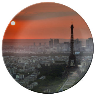 Paris sunset eiffel plate