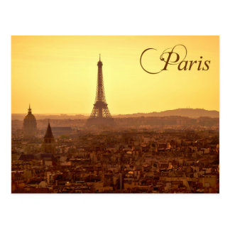 Paris Sunset with Eiffel Tower Postcard