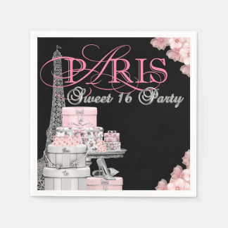 Paris Sweet 16 Birthday Party Disposable Serviette