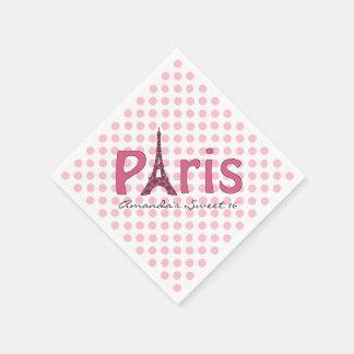Paris Sweet 16 Custom Birthday Napkins Disposable Napkin