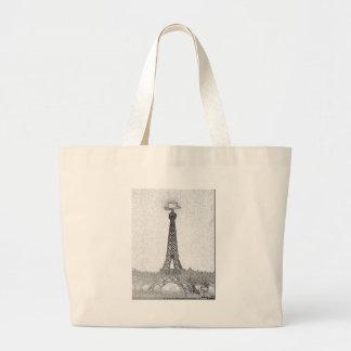 Paris, Texas Eiffel Tower Drawing Large Tote Bag