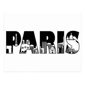 Paris Text Outline with Skyline Illustration Post Cards