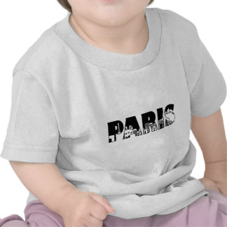 Paris Text Outline with Skyline Illustration Shirts