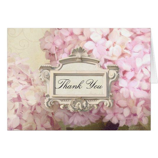 Paris Thank You Note Blush Pink Hydrangea Art Card