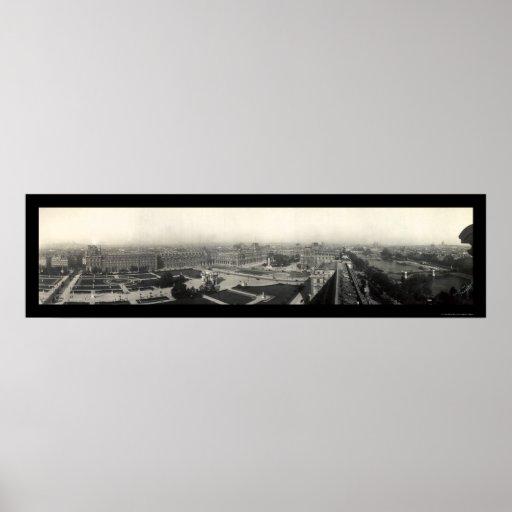 Paris & The Louvre Photo 1909 Print
