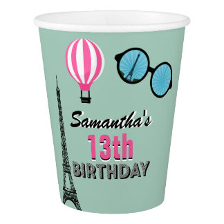 Paris Theme Happy Birthday Paper Cup