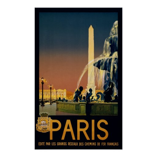 Paris travel poster for French railway networks