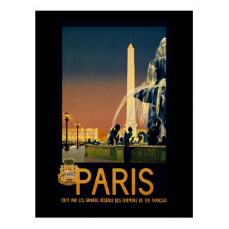 Paris travel poster for French railway networks Postcard