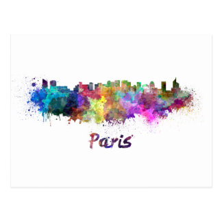 Paris V2 skyline in watercolor Postcard