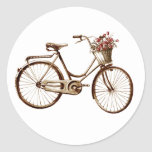 Paris Vintage Bike Bicycle  Basket Flowers Roses Round Sticker