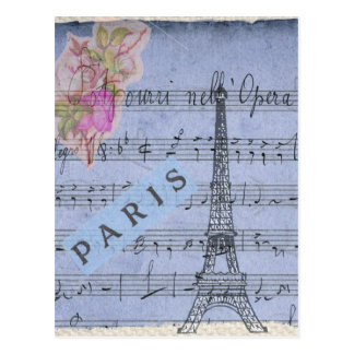 Paris Vintage Collage Style Postcard