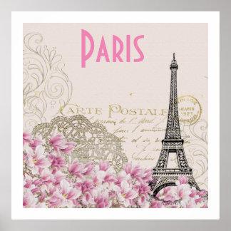 PARIS   vintage Eiffel tower card Poster