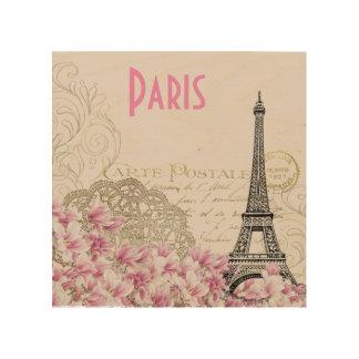 PARIS | vintage Eiffel tower card Wood Canvas