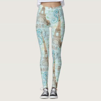 Paris Vintage French Writing Aqua Leggings