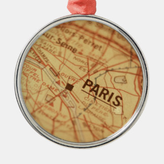 PARIS Vintage Map Christmas Ornament