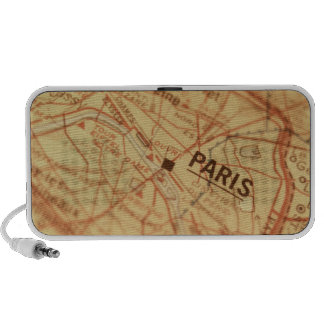 PARIS Vintage Map Doodle iPod Speakers