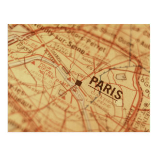 PARIS Vintage Map Postcard