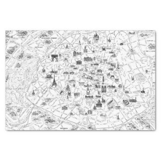 Paris Vintage Map Tissue Paper
