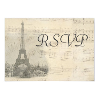 Paris Vintage Music Wedding RSVP Card