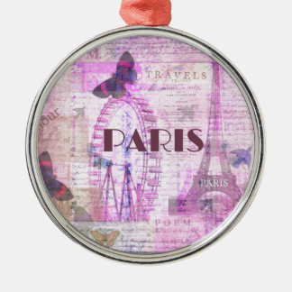 PARIS Vintage Parisian Theme art Christmas Ornament