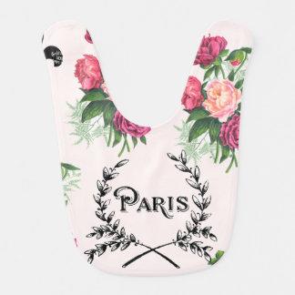 Paris Vintage Pink Roses Baby Bib