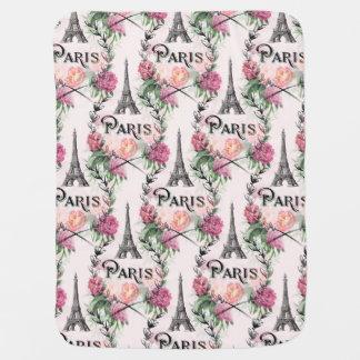 Paris Vintage Pink Roses Baby Blanket