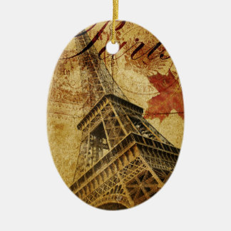 Paris vintage poster. ceramic oval decoration