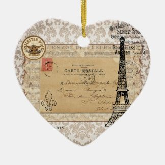 Paris Vintage Shabby Chic Eiffel Tower Christmas Ornament