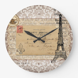 Paris Vintage Shabby Chic Eiffel Tower Large Clock