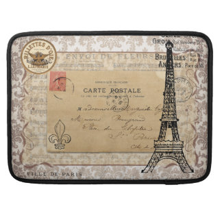 Paris Vintage Shabby Chic Eiffel Tower MacBook Pro Sleeve