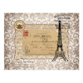 Paris Vintage Shabby Chic Eiffel Tower Postcard