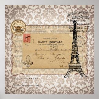 Paris Vintage Shabby Chic Eiffel Tower Posters