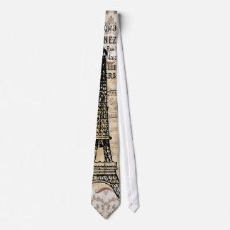 Paris Vintage Shabby Chic Eiffel Tower Tie