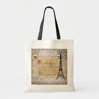 Paris Vintage Shabby Chic Eiffel Tower Tote Bag