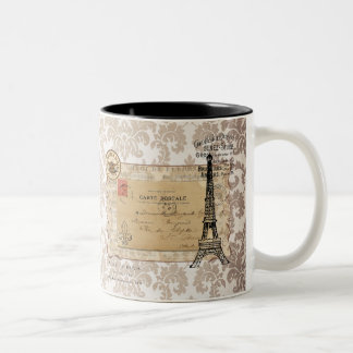 Paris Vintage Shabby Chic Eiffel Tower Two-Tone Coffee Mug