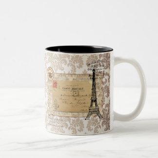 Paris Vintage Shabby Chic Eiffel Tower Two-Tone Mug