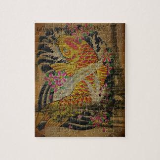 Paris vintage tattoo japanese koi fish jigsaw puzzle
