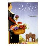 Paris Vintage Travel Poster Restored Greeting Card