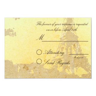 Paris Vintage Wedding RSVP Card 9 Cm X 13 Cm Invitation Card