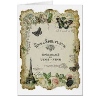 Paris Vintage Wine and Roses Card