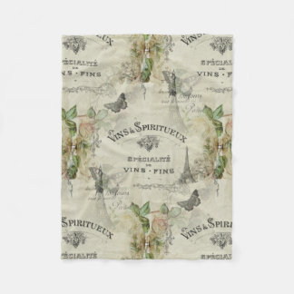 Paris Vintage Wine and Roses Fleece Blanket