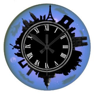 Paris violet evening cityscape wall clock