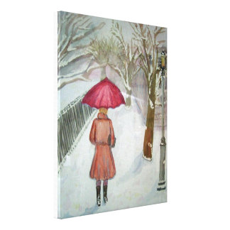 Paris Walk in the Snow Canvas Print