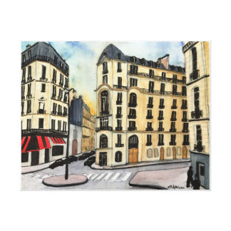 Paris - watercolor, wrapped canvas print