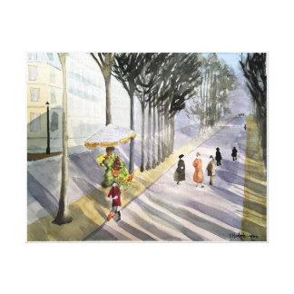 Paris , - watercolor, wrapped canvas print