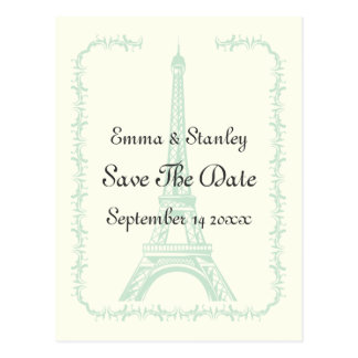 Paris wedding mint Eiffel Tower Save the Date Postcard