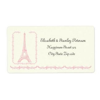 Paris wedding pink Eiffel Tower ivory label