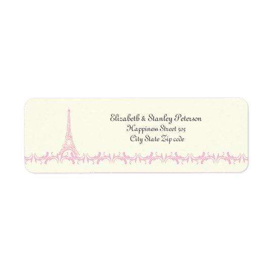 Paris wedding pink Eiffel Tower ivory label Return Address Label