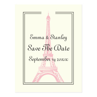 Paris wedding pink Eiffel Tower Save the Date Postcard